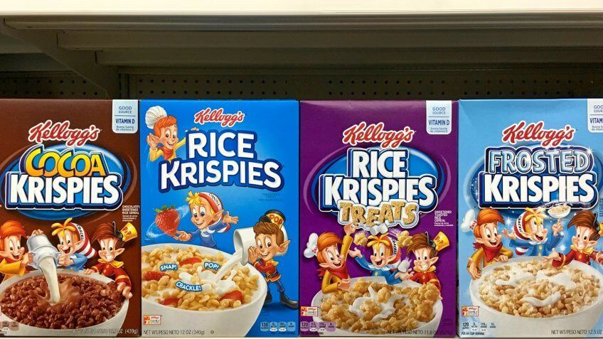 San Leandro, CA - October 15, 2017: Grocery store shelf with boxes of Kellogg's brand Rice Krispies in various flavors