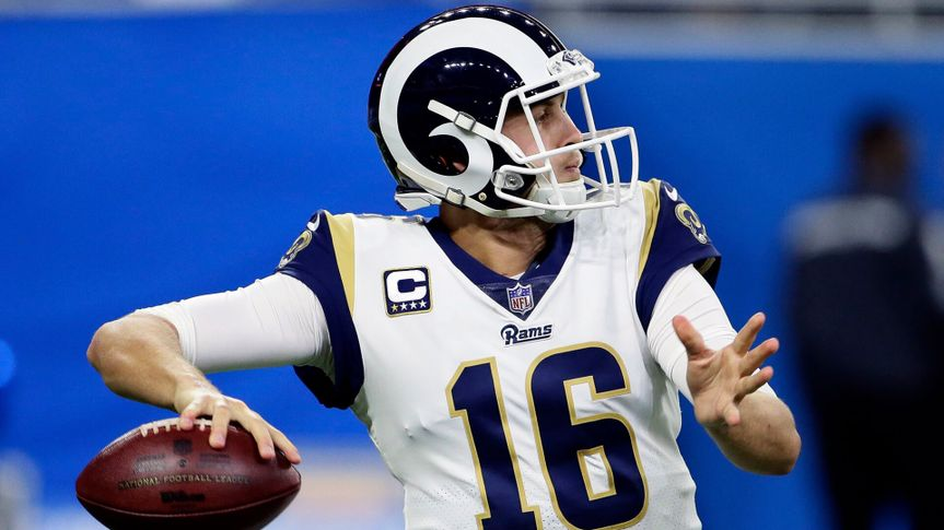 Mandatory Credit: Photo by Duane Burleson/AP/REX/Shutterstock (10050933v)Los Angeles Rams quarterback Jared Goff (16) passes the ball against the Detroit Lions during the second half of an NFL football game, in DetroitRams Lions Football, Detroit, USA - 02 Dec 2018.