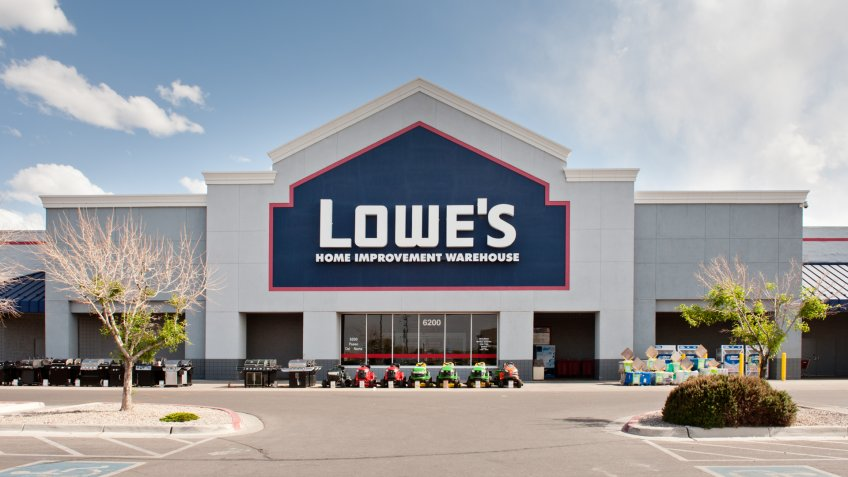 Albuquerque, New Mexico, USA - May 10, 2011: Front facade and entrance to Lowe's  home improvement center located at Paseo del Norte shopping center in Albuquerque, New Mexico.