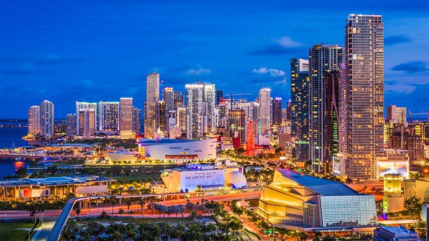 Miami, Florida downtown skyline.