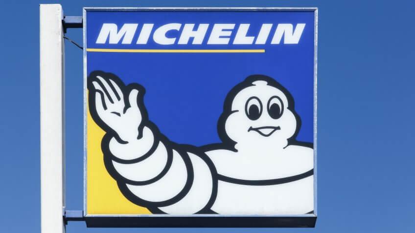 Lyon, France - September 21, 2015: Michelin logo on a pole.