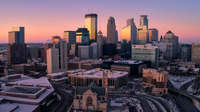 Aerial Shot of Downtown Minneapolis, Minnesota at Sunset
