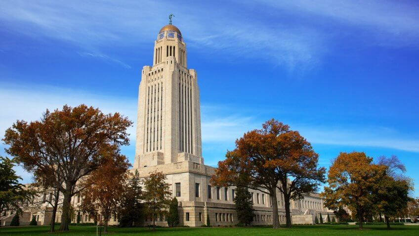 This is a photo of the state capital building in Lincoln Nebraska.