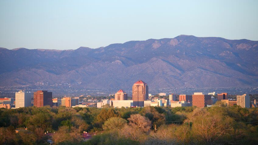 Downtown Albuquerque skyline at dusk.