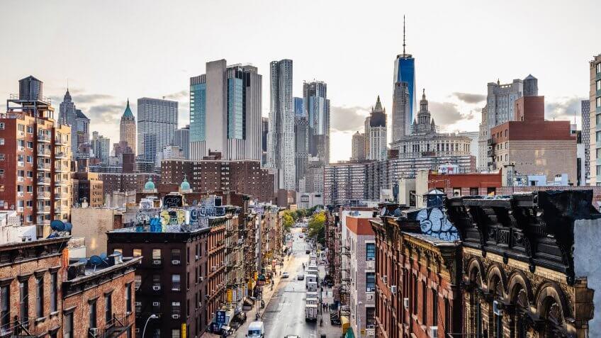 Lower Manhattan cityscape.