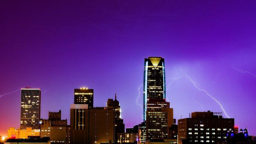 Lightning in Oklahoma City.