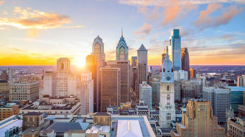 Skyline of downtown Philadelphia at sunset USA.