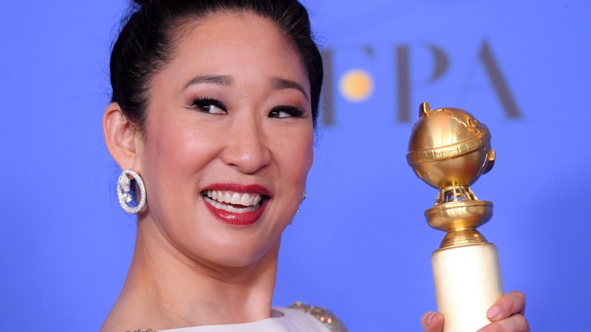Photo by David Fisher/REX/Shutterstock Sandra Oh - Best Actress in a TV Series, Drama - 'Killing Eve'76th Annual Golden Globe Awards, Press Room, Los Angeles, USA - 06 Jan 2019.