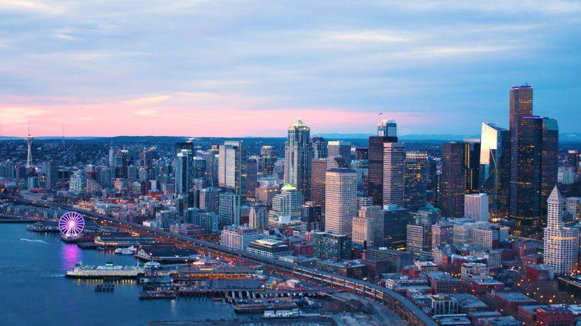 Seattle Washington USA Downtown Waterfront Aerial Panoramic Shot Pink Skies Sunset.