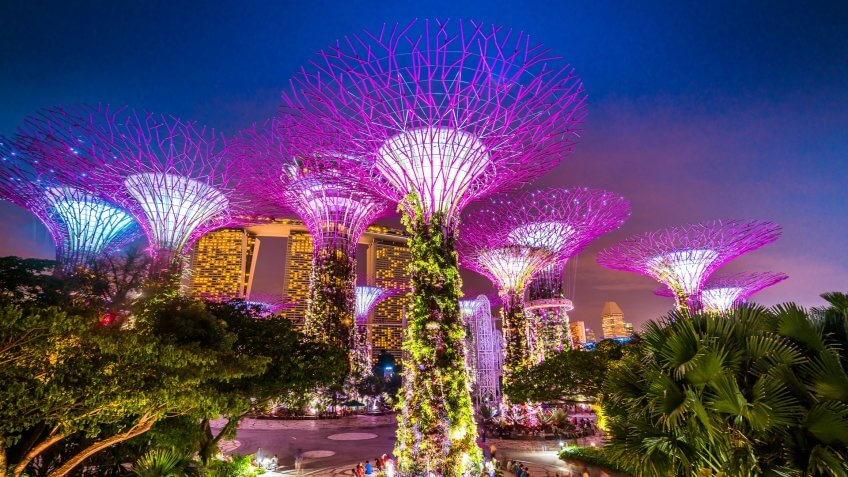 Singapore, Singapore - November 4, 2016: Illuminated Supertrees and Skywalk in Gardens by the bay in Singapore at night.