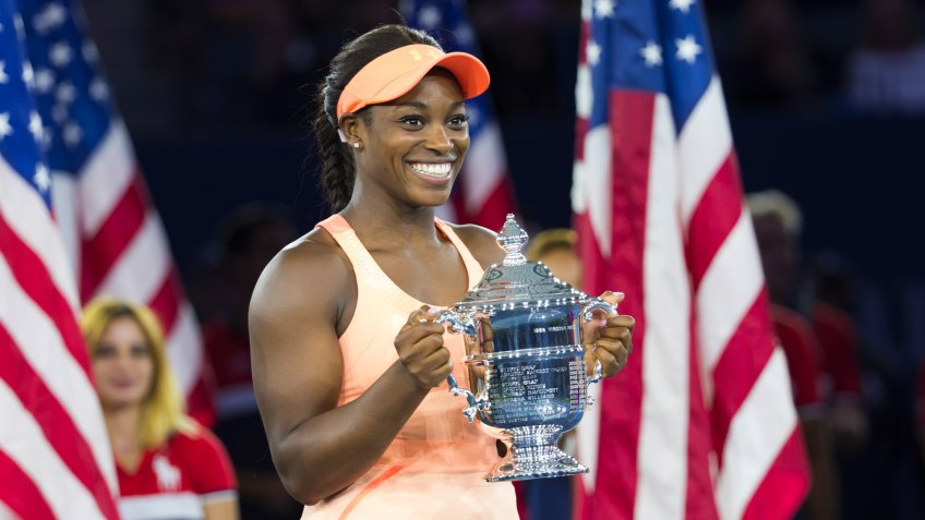 New York, NY USA - September 9, 2017: Sloane Stephens hold trophy after winning women championship at US Open tennis tournament at Billie Jean King National Tennis Center - Image.