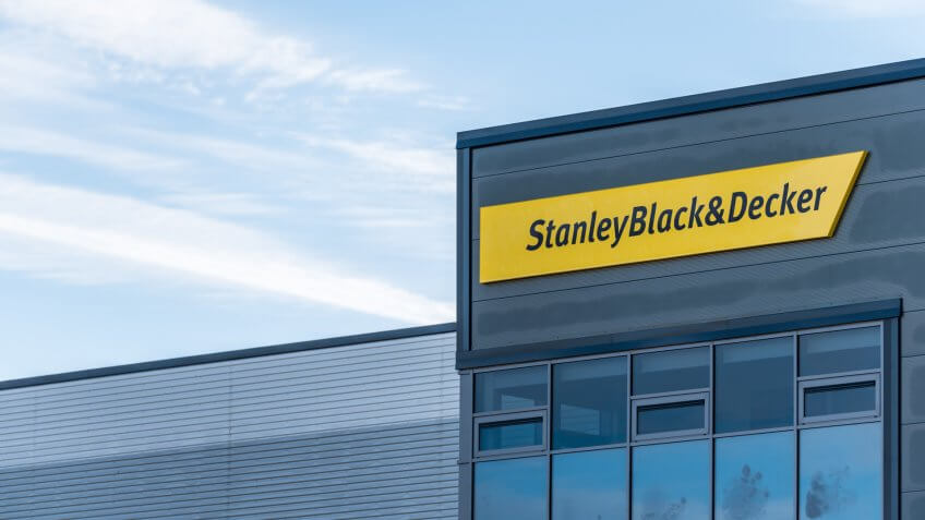 Northampton UK December 09, 2017: Stanley Black And Decker Builders Merchant logo sign in Brackmills Industrial Estate - Image.