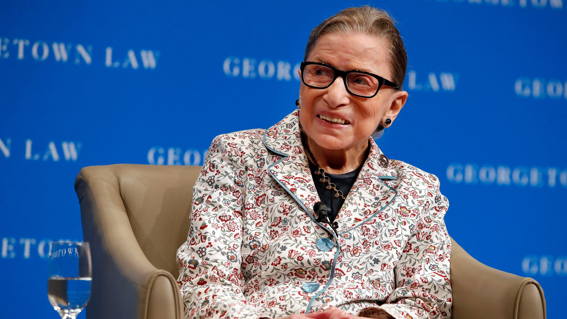 Supreme Court Justice Ruth Bader Ginsburg on stage during interview