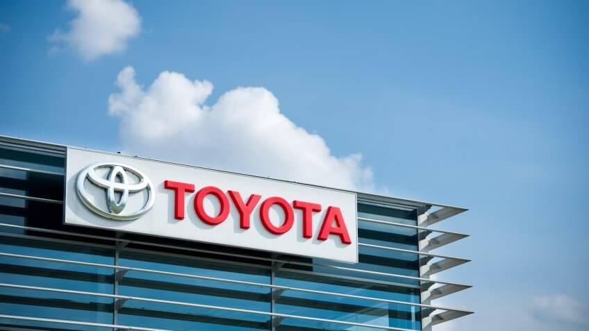 VILNIUS - JULY 6: Toyota logo on July 6, 2014 in Vilnius, Lithuania.