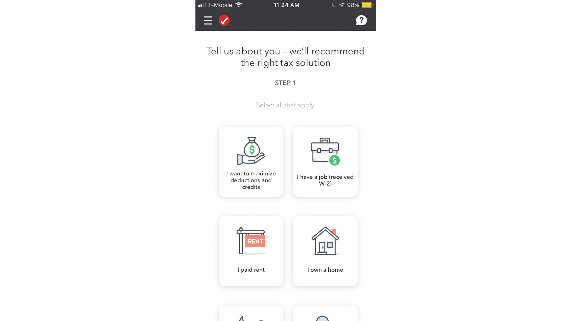 Turbo Tax mobile app