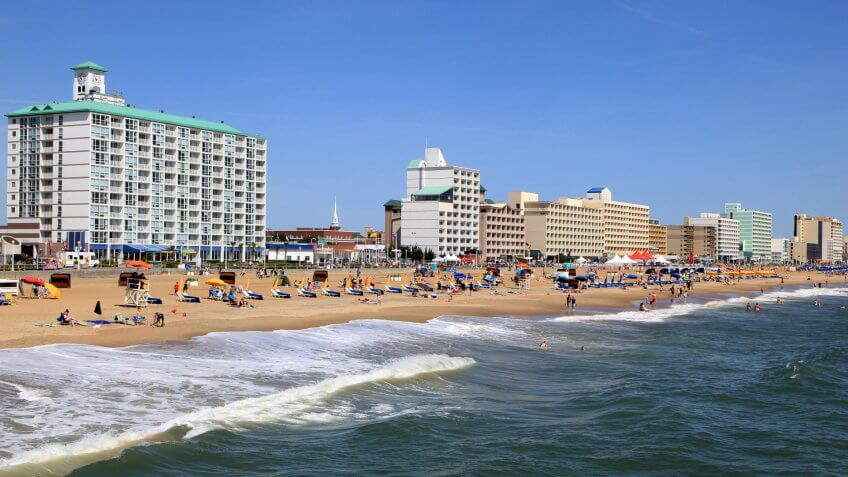 Virginia Beach resort city showing beach goers on their daily activities while on vacation.