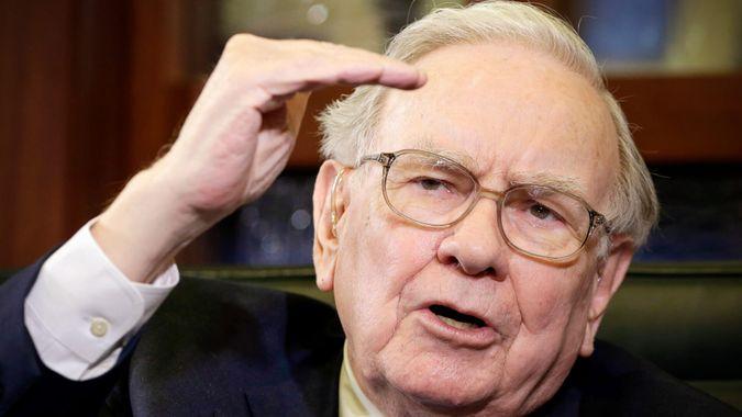 Mandatory Credit: Photo by Nati Harnik/AP/REX/Shutterstock (6124058a)Warren Buffett Berkshire Hathaway Chairman and CEO Warren Buffett speaks during an interview with Liz Claman on the Fox Business Network in Omaha, Neb.