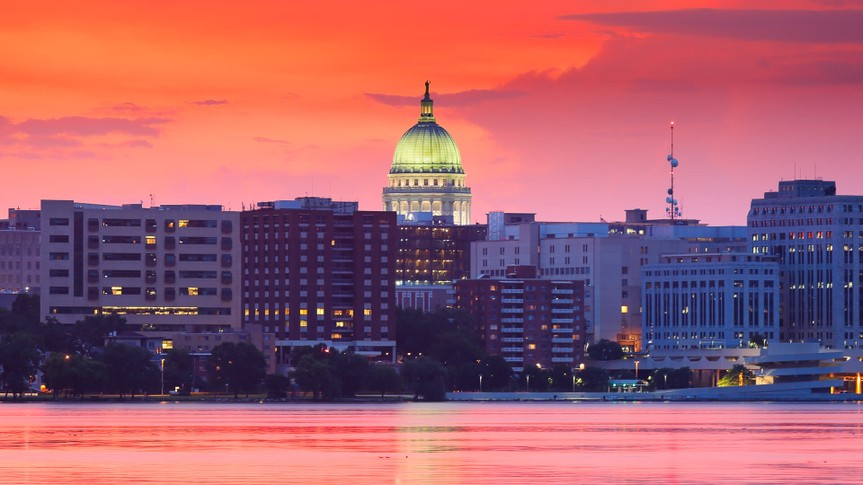 Wisconsin state capital in Madison at sunset