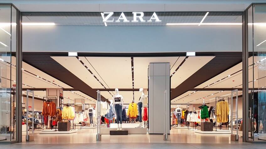 Gdansk, Poland - June 30, 2018: Exterior of Zara fashion store in Gdansk.