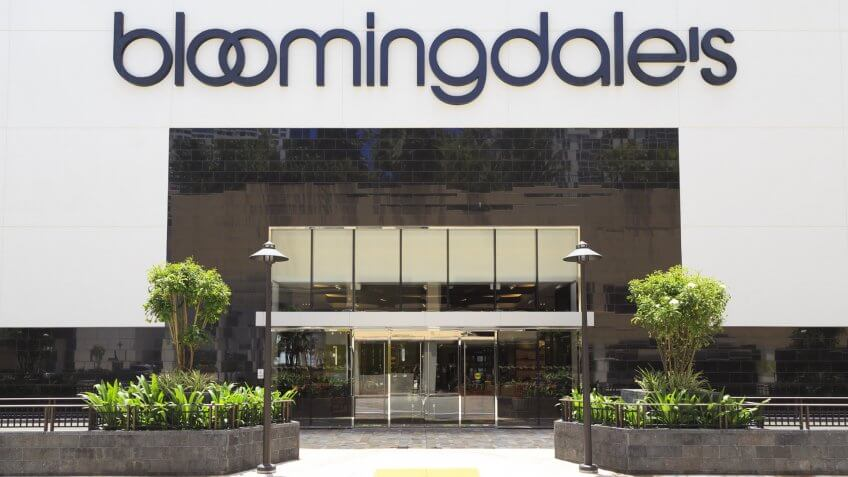 Honolulu, Hawaii, USA - May 24, 2017: Bloomingdale's: Bloomingdale's facade in Ala Moana Center.