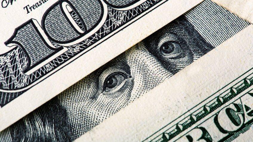 one hundred dollar bill macro photo