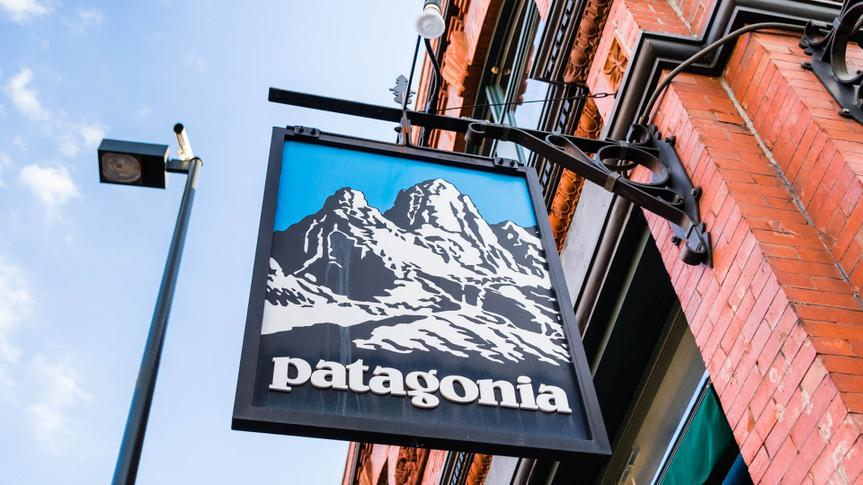 March 15, 2018 Pasadena / CA / USA - Patagonia sign in front of the store located in downtown Pasadena.