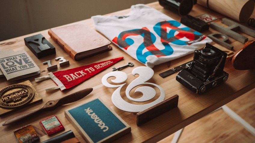 promotional branding products on a table