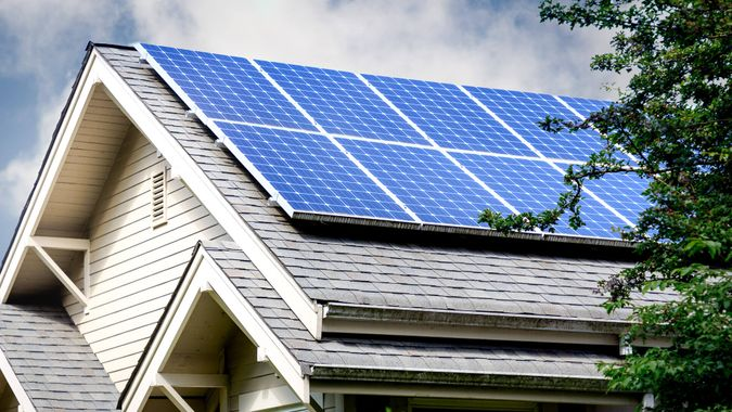 Solar Panels on Roof of Home.