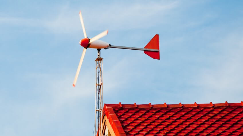 wind turbine attached to roof
