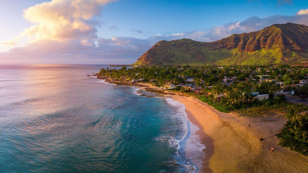 Aerial panorama of the West coast of Oahu