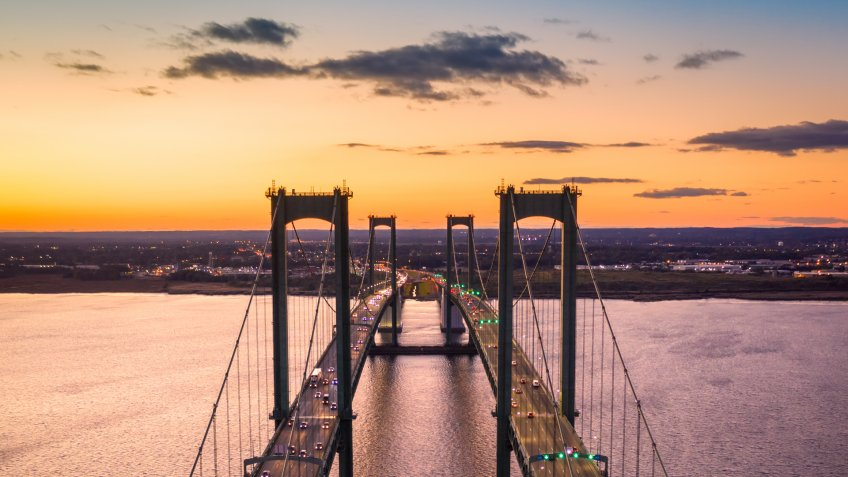 Aerial view of Delaware Memorial Bridge at dusk.