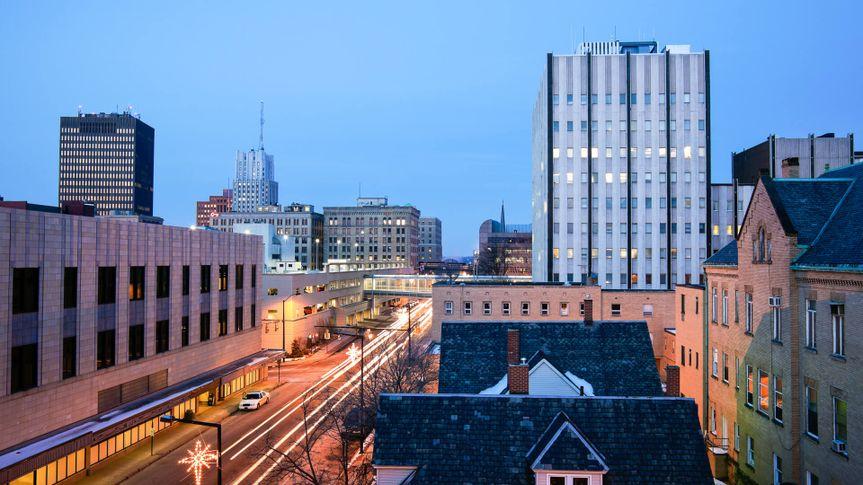 dusk in Akron, Ohio.