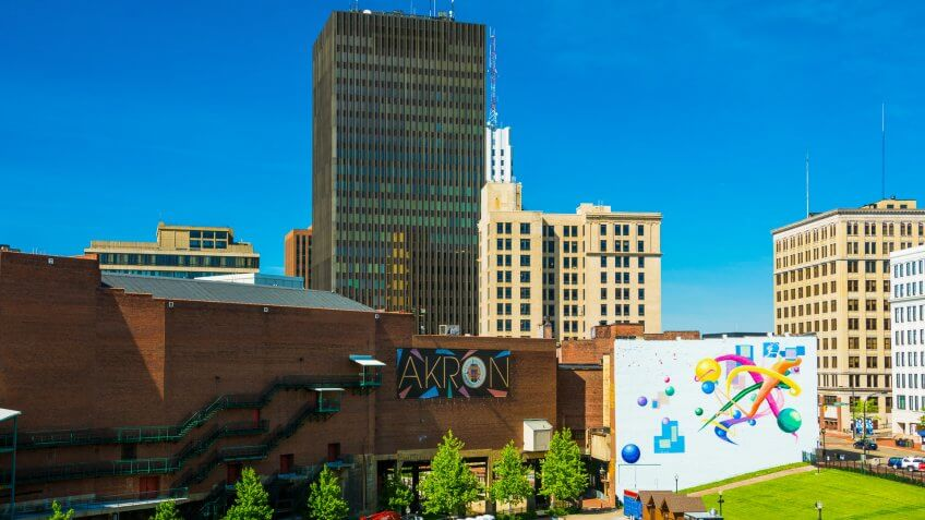 Akron Ohio downtown with mural