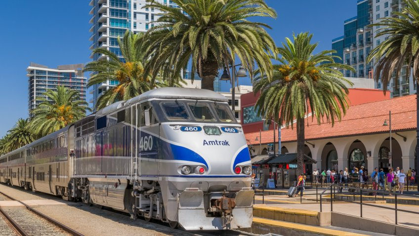 Amtrak train making a stop in San Diego