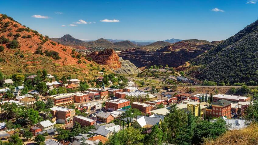 Bisbee with surrounding Mule Mountains in Arizona