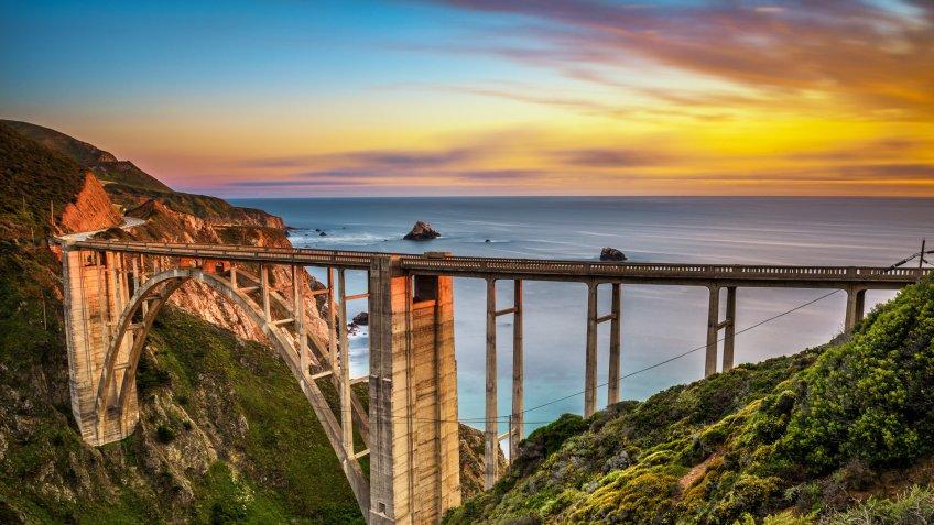 Bixby Bridge (Rocky Creek Bridge) and Pacific Coast Highway at sunset near Big Sur in California, USA.