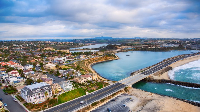 The Agua Hedionda Lagoon located adjacent to Tamarack Beach in Carlsbad, northern San Diego County, California.