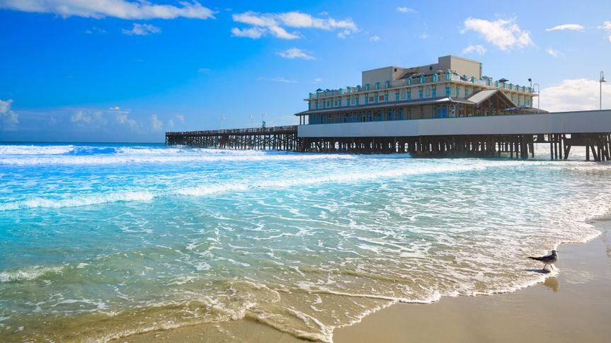 Daytona Beach in Florida with pier and coastline