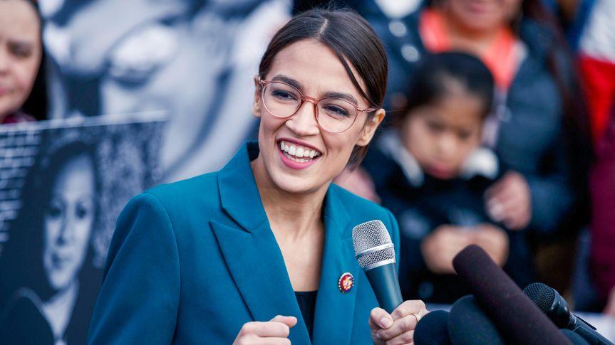 Democratic Representative Alexandria Ocasio-Cortez delivers speech