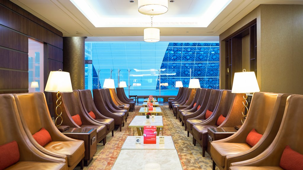 DUBAI, UAE - MARCH 31, 2015: interior of Emirates first class lounge.