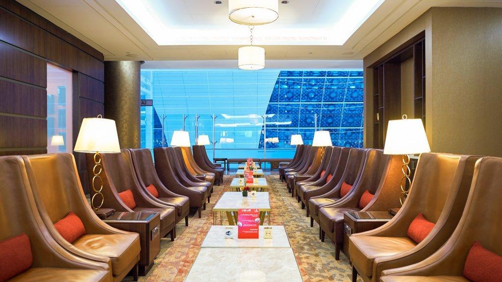 DUBAI, UAE - MARCH 31, 2015: interior of Emirates first class lounge.
