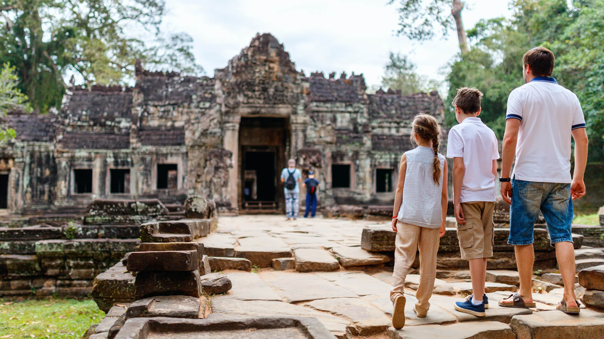 Family of father and kids in Cambodia