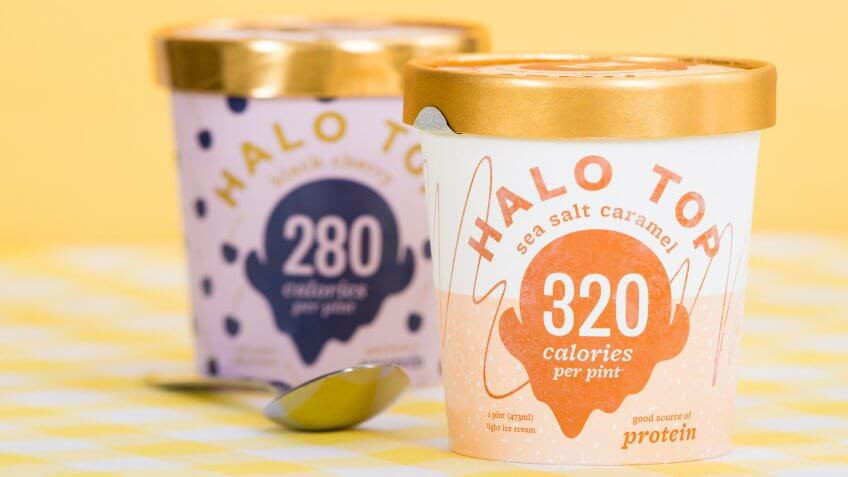 Halo Top ice cream pint containers