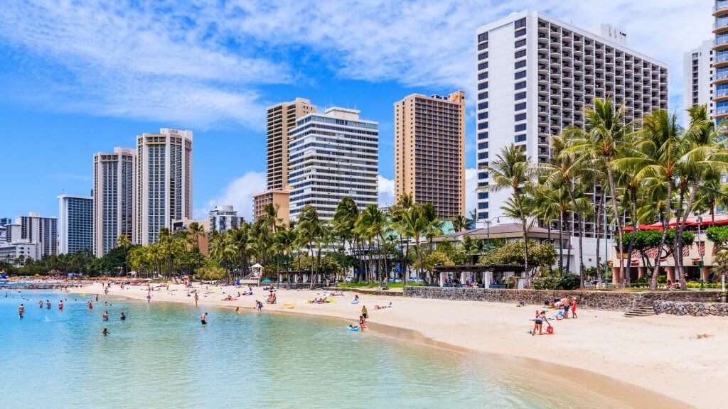 Honolulu, Hawaii. Waikiki Beach in Honolulu