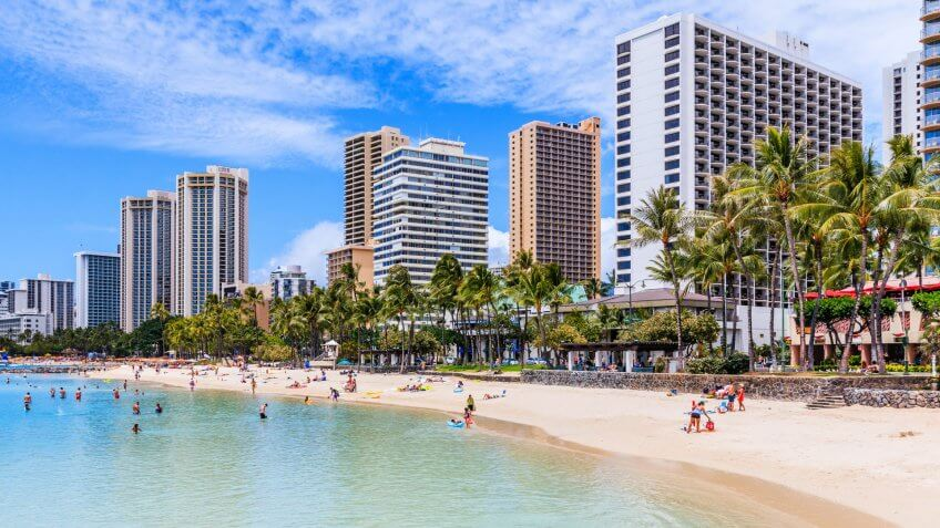 Honolulu, Hawaii. Waikiki Beach in Honolulu