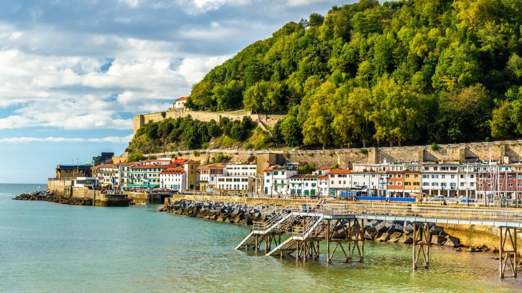 Houses on the seaside of San Sebastian-Donostia - Spain.