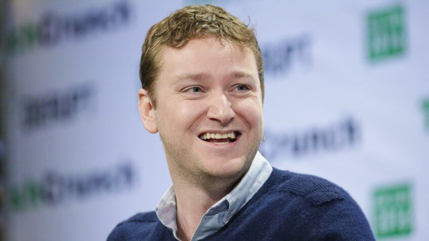 Mandatory Credit: Photo by Andrew Gombert/EPA/REX/Shutterstock (7935515c)Jon Stein Ceo and Founder of Betterment Speaks on Stage at Techcrunch Disrupt 2016 New York in Brooklyn New York Usa 10 May 2016 United States BrooklynUsa Techcrunch Disrupt New York 2016 - May 2016.