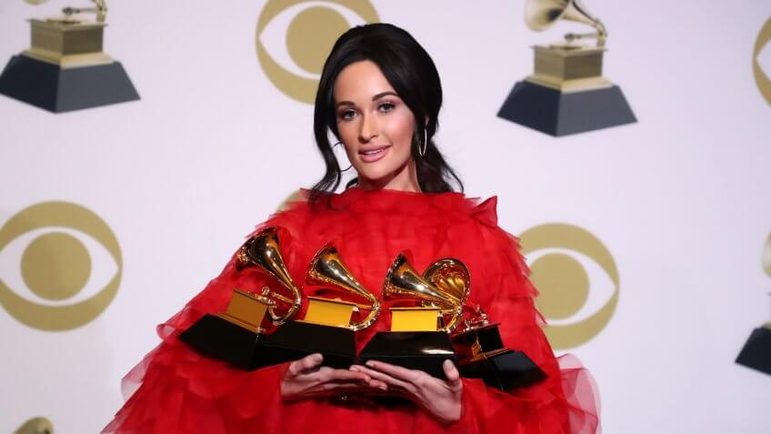 Mandatory Credit: Photo by Chelsea Lauren/REX/Shutterstock (10095021cc)Kacey Musgraves - Album Of The Year - Best Country Song - 'Space Cowboy' - Best Country Album - 'Golden Hour' - Best Country Solo Performance - 'Butterflies'61st Annual Grammy Awards, Press Room, Los Angeles, USA - 10 Feb 2019.