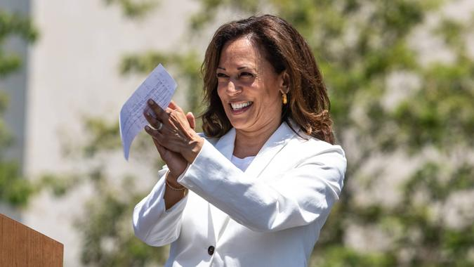 LOS ANGELES, CA - JUNE 30, 2018: California Senator Kamala Harris speaking at the Families Belong Together rally and march.