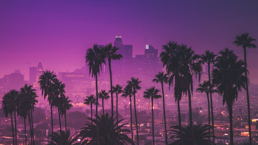 Downtown Los Angeles, California with palm trees and purple sky
